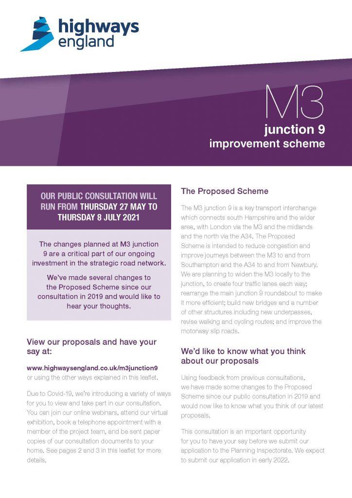 M3 J9 public consultation flyer
