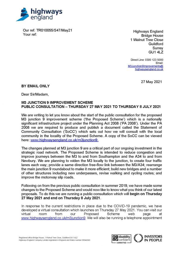 M3 J9 consultation letter