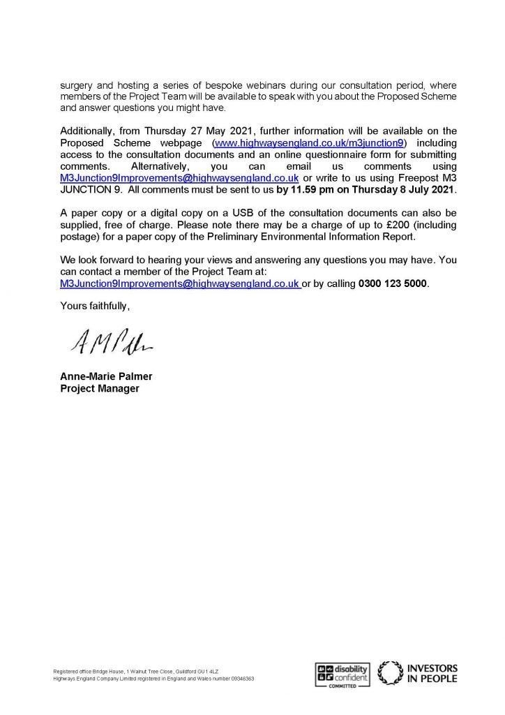 M3 J9 consultation letter p2